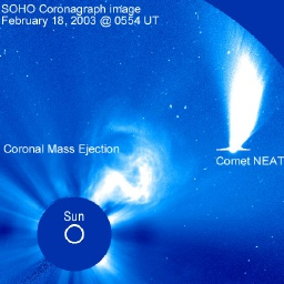 SOHO photo of Comet Neat blasted by a solar flare on Feb. 18, 2002